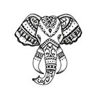 Tattoorary Bohemian style elephant head temporary tattoo