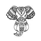 Tattoorary Bohemian style elephant head temporary tattoo