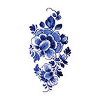 Tattoorary Large floral vintage Dutch 'Delfts Blauw' temporary tattoo