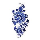 Tattoorary Large floral vintage Dutch 'Delfts Blauw' temporary tattoo