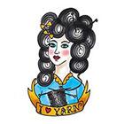 Tattoorary Old school 'I love yarn' temporary tattoo design
