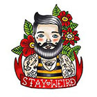 Tattoorary Old school man with beard temporary tattoo design 'Stay Weird'
