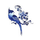 Tattoorary Temporary tattoo vintage 'Delfts Blauw' bird and flowers