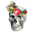 Tattoorary Vintage skull with flower headband temporary tattoo