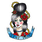 Tattoorary Old school girl temporary tattoo design 'Stay True'