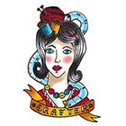 Tattoorary Old school craft girl temporary tattoo design