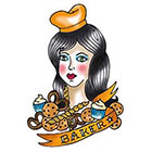 Tattoorary Old school baker girl temporary tattoo design in