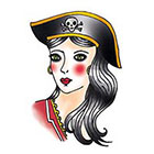 Tattoorary Old school pirate girl temporary tattoo design