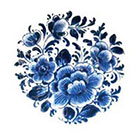 Tattoorary Temporary round 'Delfts Blauw' floral tattoo