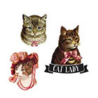 Tattoorary The cat lady temporary tattoo set (3 pieces)
