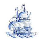 Tattoorary Vintage ship in Dutch 'Delfts Blauw' style temporary tattoo