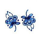 Tattoorary Delft Blue small flower (2 pieces)
