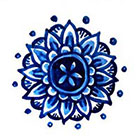 Tattoorary Temporary mandala 'Delfts Blauw' floral tattoo
