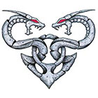 TattooGirlsRule Large Two Stone Dragons Temporary Tattoo (#HR821)