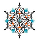 myTaT Henna Blue Mandala Tattoo, Blue Mandala Temporary Tattoo (set of 2)
