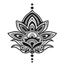 myTaT Henna Lotus Tattoo, Lotus Tattoo, Henna Lotus Temporary Tattoo (Set of 2)