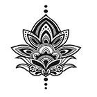myTaT Henna Lotus Tattoo, Lotus Tattoo, Henna Lotus Temporary Tattoo (Set of 2)