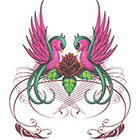 TattooGirlsRule Large Love Birds and Lotus Temporary Tattoo (#BN516B)