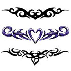 TattooGirlsRule 3 Tribal Lower Back Heart Temporary Tattoos (#G521)