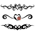 TattooGirlsRule 3 Lower Back Heart Temporary Tattoos (#G528)
