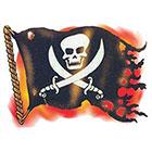 TattooGirlsRule Jolly Roger Pirate Flag Temporary Tattoo (#PIR524)