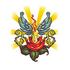 TattooGirlsRule Winged Candle in Lotus Temporary Tattoo (#NM527)