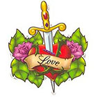 TattooGirlsRule Love Heart with Dagger Temporary Tattoos (#BN502)