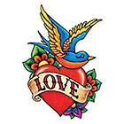 TattooGirlsRule Love Heart with Bluebird Temporary Tattoo (#VS453)