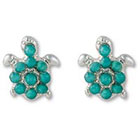 Target Turtle Post Earring with Micro Pave - Blue/Silver