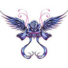 TattooGirlsRule Blue Rose with Wings Temporary Tattoo (#BN523)