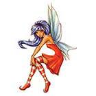 TattooGirlsRule Brunette Fairy with Red Dress Temporary Tattoo (#AM572)