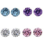 Target 6 CT. T.W. Round Cut CZ Pave Set 4-Pair Earring Set in Sterling Silver - Multicolor