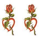 TattooGirlsRule 2 Rose and Heart Temporary Tattoos (#AA500_2)