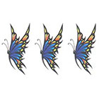 TattooGirlsRule 3 Blue and Yellow Butterfly Temporary Tattoos (#D318_3)
