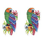 TattooGirlsRule 2 Parrot with Flower Temporary Tattoos (#D447_2)