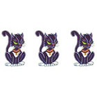 TattooGirlsRule 3 Black Pussy Cat Temporary Tattoos (#D326_3)