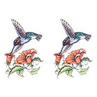 TattooGirlsRule 2 Humming Bird at Flower Temporary Tattoos (#HG497_2)