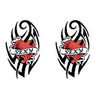 TattooGirlsRule 2 Tribal Heart Sexy Temporary Tattoos (#D461_2)