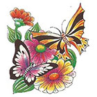 TattooGirlsRule Butterfly with Flowers Temporary Tattoo (#AS515)