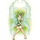 TattooGirlsRule Green Anime Fairy Temporary Tattoo (#AM555)