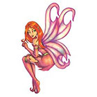 TattooGirlsRule Red Hair Faery Sitting Temporary Tattoo (#AM566)