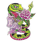 TattooGirlsRule Cute Python with Flowers Temporary Tattoo (#AS514)