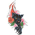 TattooGirlsRule Black Panther with Rose Temporary Tattoo (#DB551)