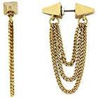 BCBGeneration Goldtone Ear Tunnel with Chain Earring in Gold