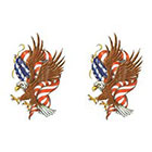 TattooGirlsRule 2 Bald Eagle and Flag Temporary Tattoos (#D401_2)