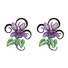 TattooGirlsRule 2 Purple Flower Temporary Tattoos (#D491_2)