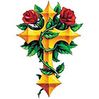 TattooGirlsRule Large Gold Cross with Roses Temporary Tattoo (#VS443)