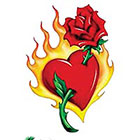 TattooGirlsRule Large Rose Through Flaming Heart Temporary Tattoo (#VS450)