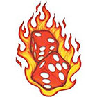 TattooGirlsRule Red Dice in Flames Temporary Tattoo (#VS455)