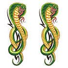 TattooGirlsRule 2 Green Cobra Temporary Tattoos (#DB555_2)